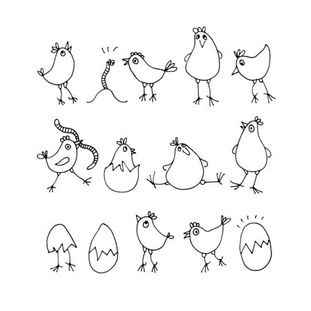 Little chicks set, vector illustration cute cartoon rooster and worms isolated on white background