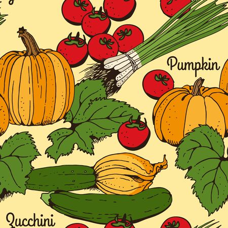 Zucchini, courgette, tomato, pumpkin, green onions, vegetable vector color seamless pattern, hand drawn food set isolated on yellow background