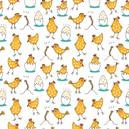 Little chicks baby pattern, seamless background with cute cartoon rooster, eggs and worms