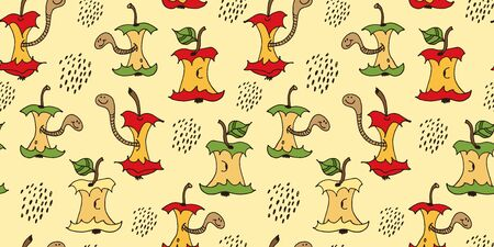 Cartoon worms in apple core seamless pattern, hand drawn vector illustration isolated on yellow background