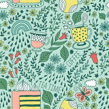 Seamless flower and leaf pattern, floral vector background, baby cartoon doodle pattern, endless texture for textile