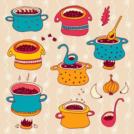 Cooking pots vector set isolated on beige floral background, kitchen cookware hand drawn set with spoons, spices