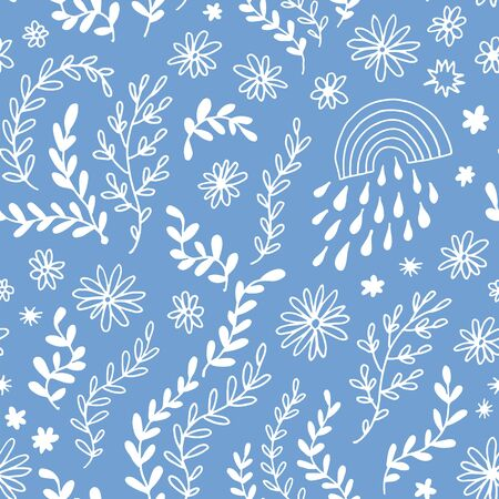 Seamless floral pattern, vector flower background