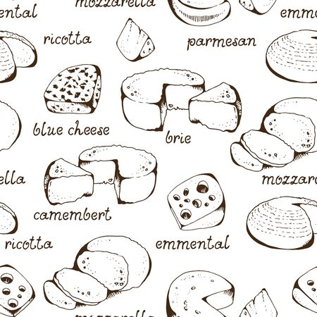 Cheese collection seamless vector pattern, isolated on white background, blue cheese, emmental, camembert, mozzarella, ricotta, parmesan with hand drawn text