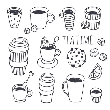 Tea time vector collection, coffee break background, hand drawn doodle plastic coffee and tea cups set with dessert, sugar, lemon, mint isolated on white background with text Vector Illustration