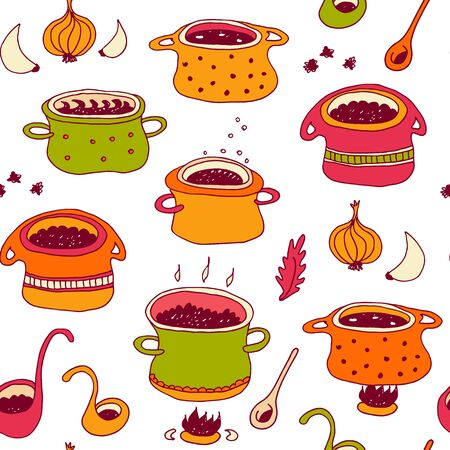 Cooking pots vector seamless pattern in doodle style, isolated on white background, kitchen cookware hand drawn illustration with soup pots, spoons, spices