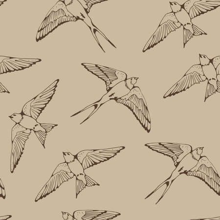 Swallow and House Martin birds vector pattern, hand drawn seamless background Vecteurs