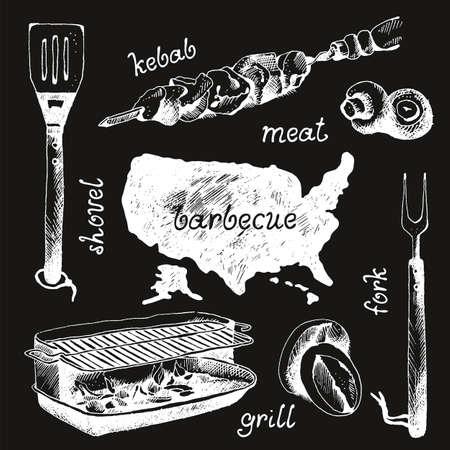 Set of bbq objects, doodle style, vector illustration 版權商用圖片 - 167844137