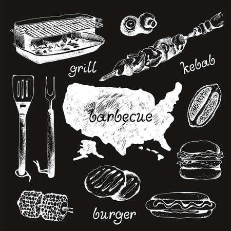 Set of bbq objects, doodle style, vector illustration