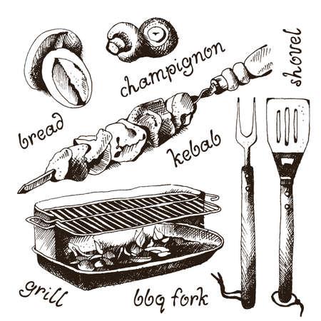 Set of bbq objects, doodle style, vector illustration Vektorové ilustrace