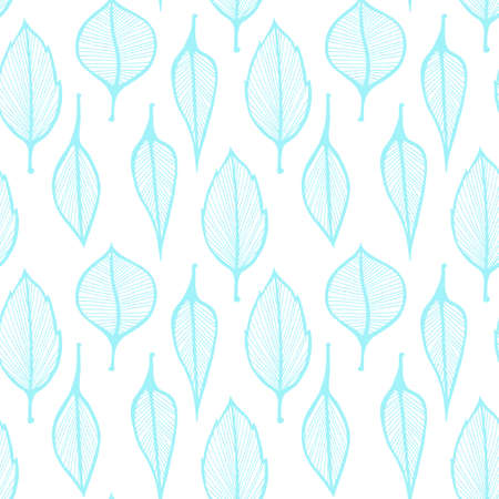 Hand drawn leafs pattern, seamless illustration with blue leaves on white background
