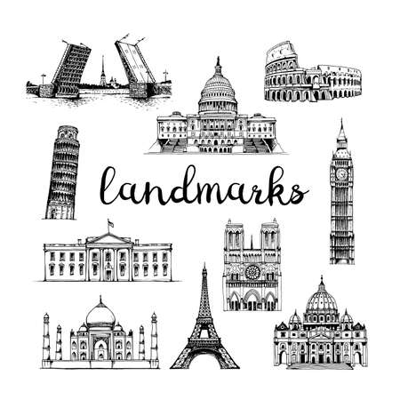 Vector landmarks vector set. Hand drawn collection of tourist attractions isolated on white background
