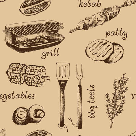 Barbecue food vector pattern, grill hand drawn meat products background, sketch seamless texture