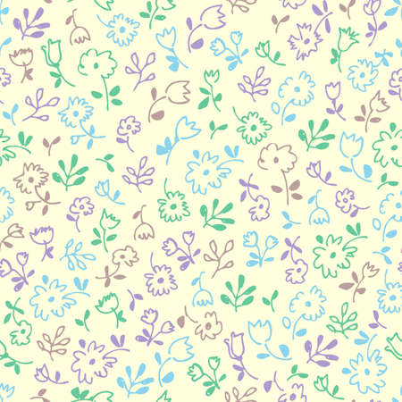 Small flowers seamless pattern, hand drawn floral decorative fabric background