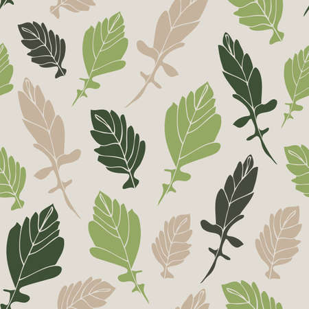 Leaves seamless pattern, hand drawn floral fabric background