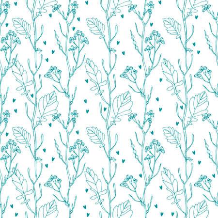 Wild flowers seamless pattern, hand drawn floral background 版權商用圖片 - 167754555