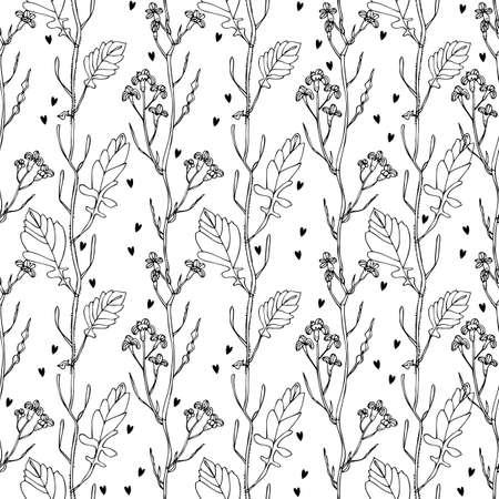 Wild flowers seamless pattern, hand drawn floral background 向量圖像