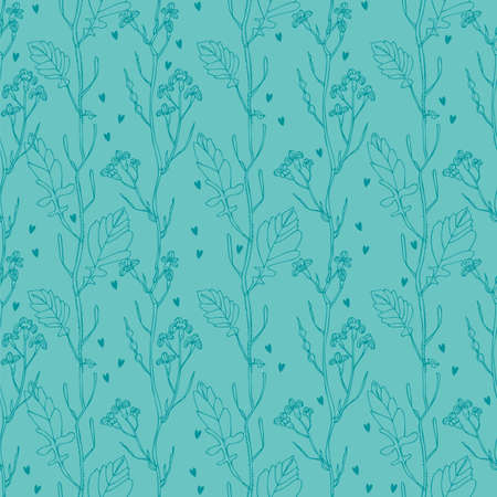 Flower doodle pattern, vector hand drawn floral background Vectores