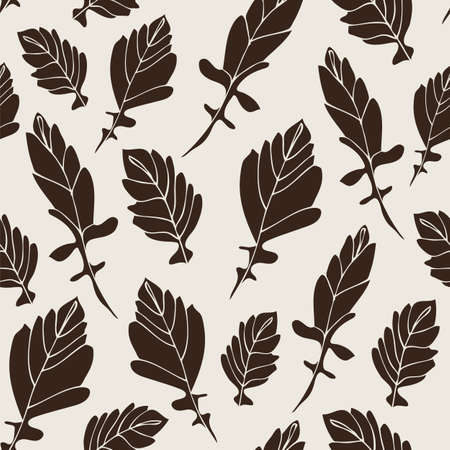 Flower leaf doodle pattern, vector hand drawn floral background 版權商用圖片 - 167844148