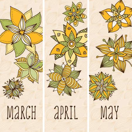 Flower doodle pattern, vector hand drawn floral background 向量圖像