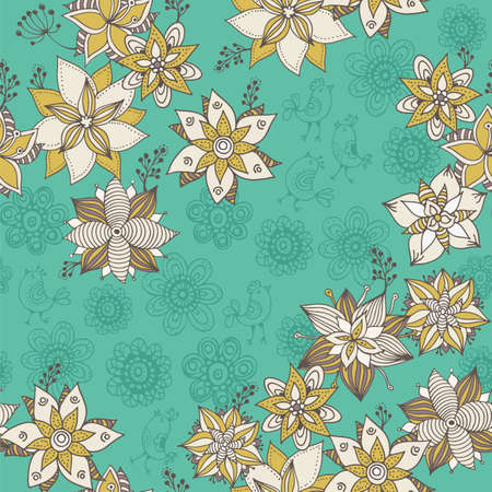 Flower doodle pattern, vector hand drawn floral background 版權商用圖片 - 167844150