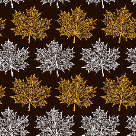 Maple leaf silhouette pattern, seamless vector maple background