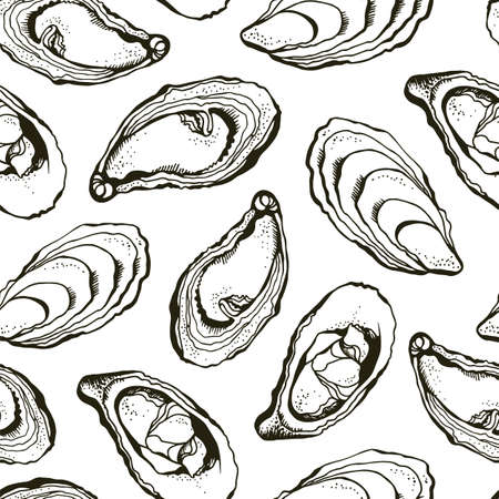 Oysters vector seamless background, hand drawn sea food background