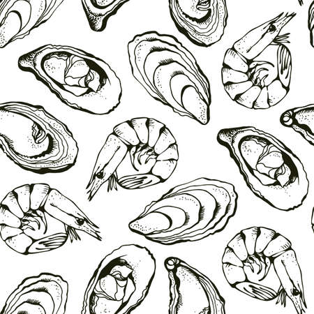 Oysters and shrimps vector seamless background, hand drawn sea food background