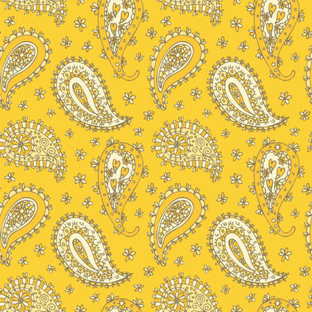 Paisley floral pattern, oriental floral seamless hand drawn background 向量圖像