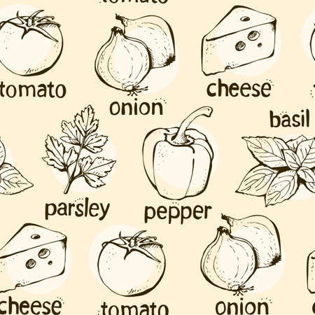 Vector seamless pattern of ingredients for pizza, hand drawn background 向量圖像