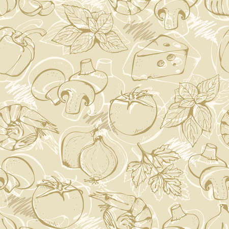 Vector set of ingredients for pizza, tomatoes, cheese, pepper, basil, onion, shrimp, mushrooms, ham, garlic, olives, meat isolated on a beige background