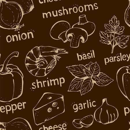 Vector set of ingredients for pizza, tomatoes, cheese, pepper, basil, onion, shrimp, mushrooms, ham, garlic, olives, meat isolated on a brown background