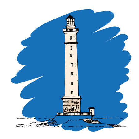 Silhouette lighthouse drawing on a blue background, vector illustration Illustration