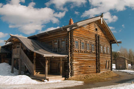 Traditional farmhouse of the north russian fishermans on White sea photo