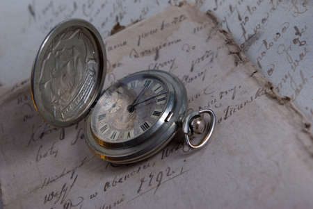 old watch,old-time documents,past and future Stock Photo - 1858873