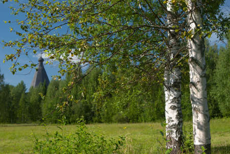 transfiguration: Landscape with birch and temple Stock Photo