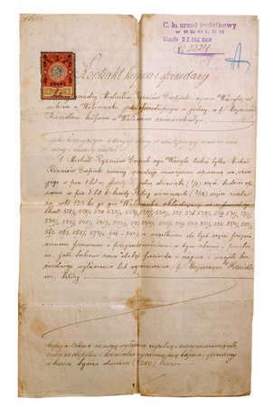 slavonic: aging manuscript on white background, slavonic language