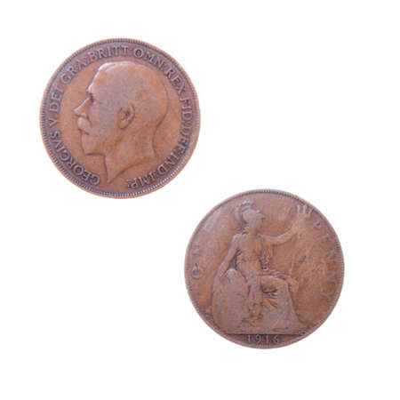 Old coins to England,Great britain,set of coins from different countries isolated on a white backgroun photo