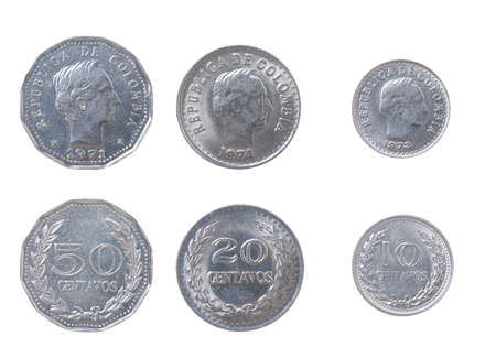 Old coins Columbia.set of coins from different countries isolated on a white backgroun Stock Photo - 2224606