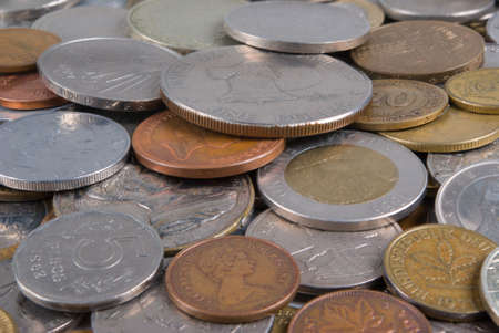 Much coins of the different countries. Dollar over all Stock Photo - 2265409