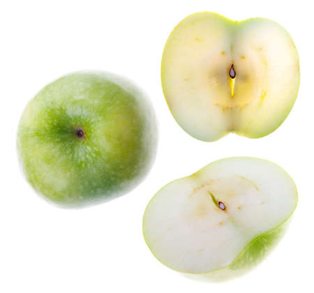 gash: Green present apple.Whole and cut.Object on a white background Stock Photo