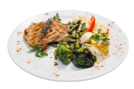 Grilled steak with french fries and broccoli on a white plate Stock Photo - 2738985