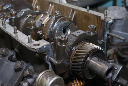 Set linked metal gears the automobile mechanism in plentiful greasing Stock Photo - 2909267