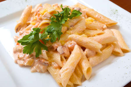european cuisine: The Italian pasta on a plate close up Stock Photo