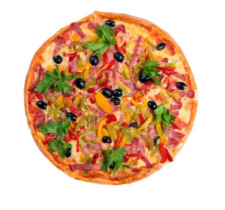 Tasty Italian pizza.Neapolitan,Close-up isolated on a white background. Stock Photo - 3422954