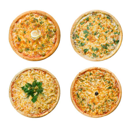 Tasty Italian pizza. Studio. Isolated on white background.  photo