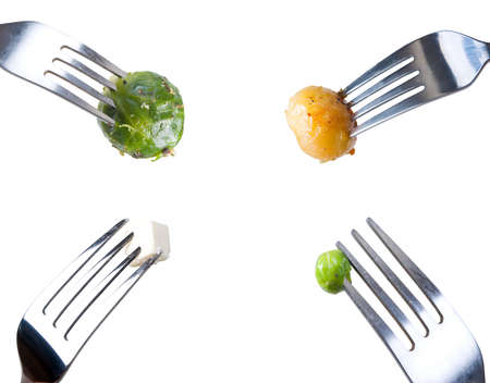 four forks with meal photo