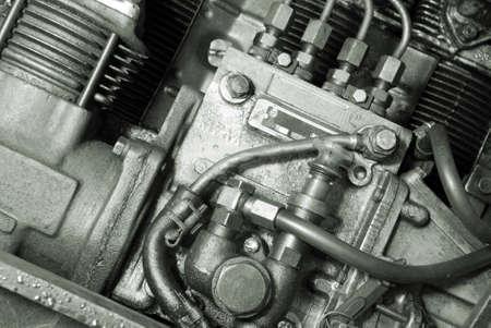 automobile mechanism .Part of a car engine.monochrome Stock Photo