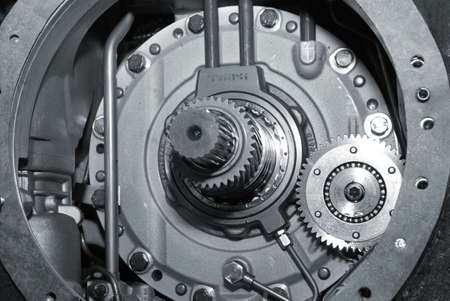 close up view of gears from old mechanism.monochrome Stock Photo - 3681909