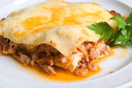 Beef lasagne closeup Stock fotó